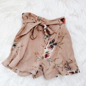 Pants - Tan Floral Shorts with Belt